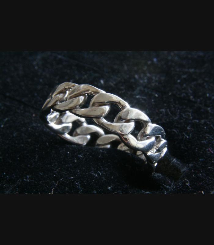 Panzerkette Kettenring 925 Sterling Silber Ring Biker
