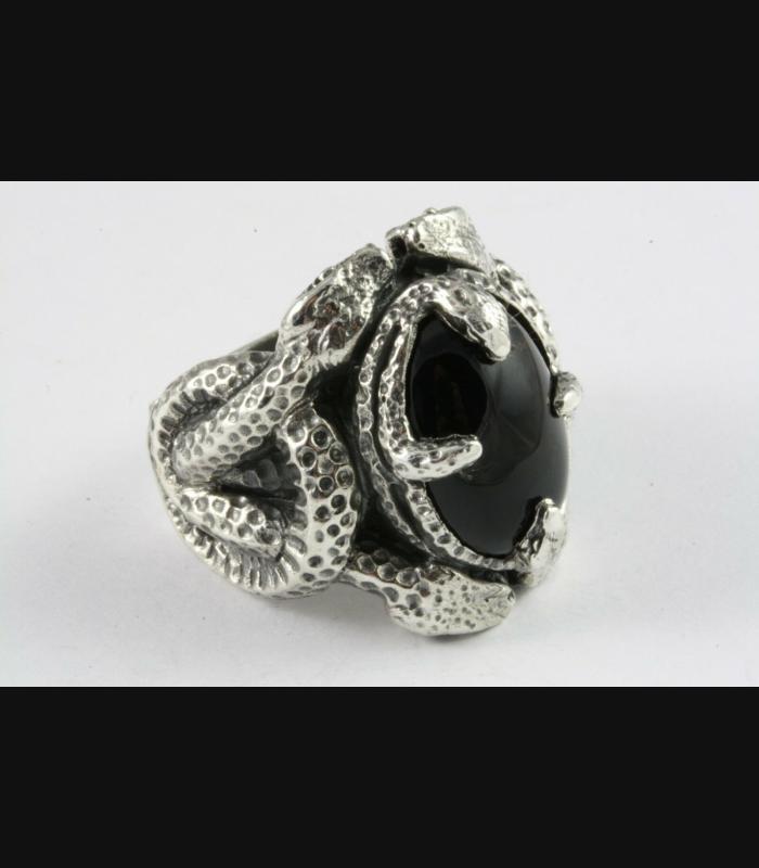 SCHLANGEN BLACK STONE GOTHIC RING 925 ECHT SILBER SILBERRING / 533