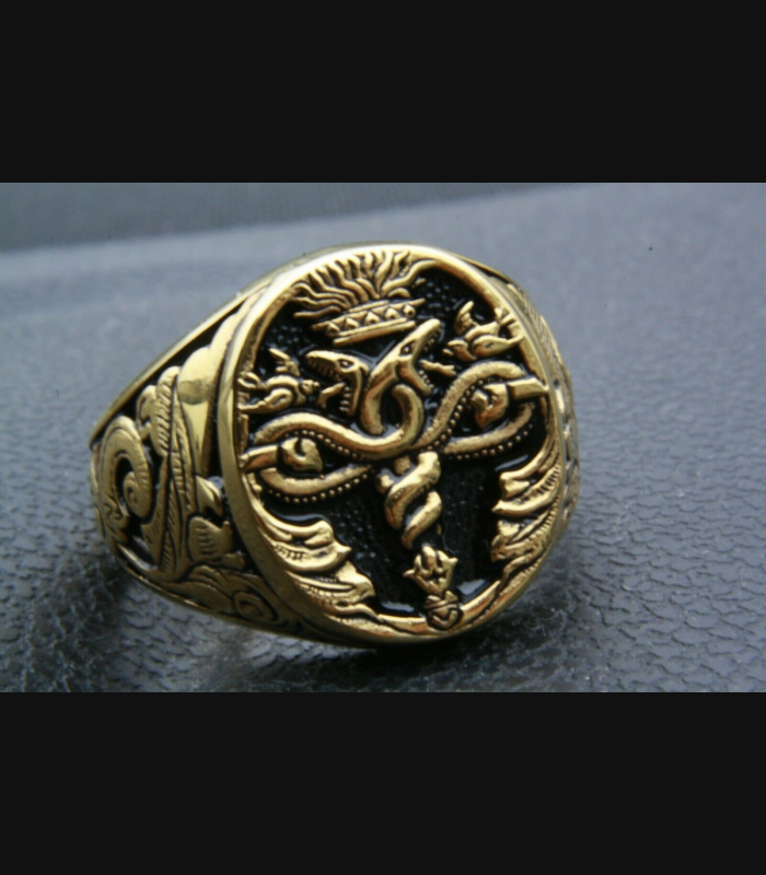 HERMESSTAB Aesculap HEROLD WAPPENRING GOLD PLATED VERGOLDET SIEGELRING / 361